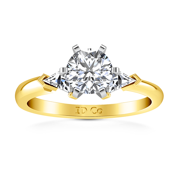 Three Stone Diamond Engagement Ring Miranda Trilliant 14K Yellow Gold