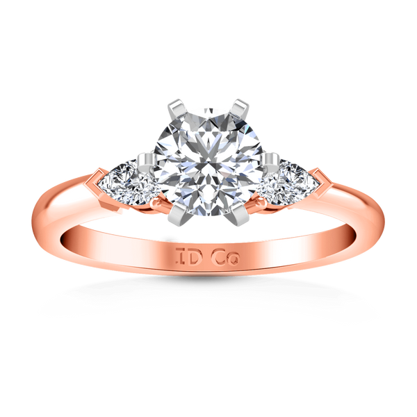 Three Stone Diamond EngagementRing Eliza Pear Shape 14K Rose Gold