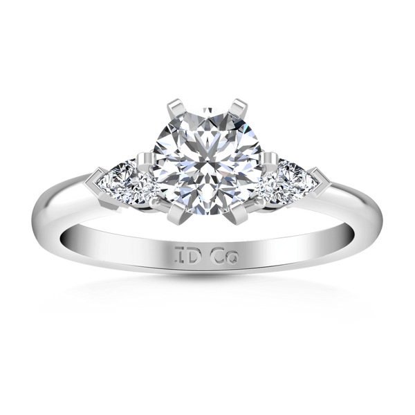Three Stone Engagement Ring Eliza Pear Diamond 14K White Gold