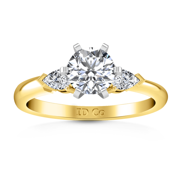 Three Stone Diamond Engagement Ring Eliza Pear Shape 14K Yellow Gold
