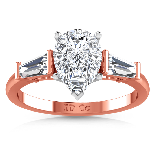 Three Stone Diamond EngagementRing Tapered Baguette 14K Rose Gold