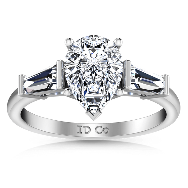 Three Stone Pear Diamond Engagement Ring Tapered Baguette 14K White Gold