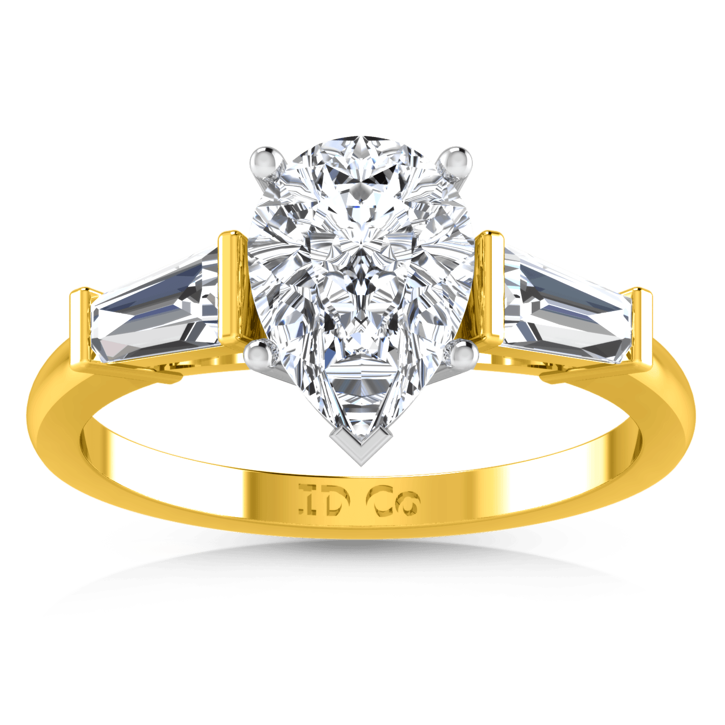 Three Stone Diamond Engagement Ring Tapered Baguette 14k Yellow Gold