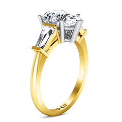 Three Stone Diamond Engagement Ring Tapered Baguette 14K Yellow Gold engagement rings imaginediamonds