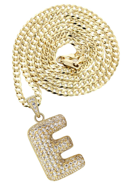 "10K Yellow Gold Cuban Chain & Bubble Letter ""E"" Cz Pendant 