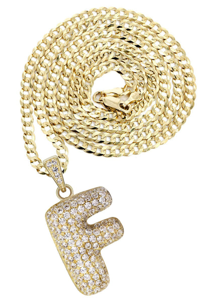 "10K Yellow Gold Cuban Chain & Bubble Letter ""F"" Cz Pendant 