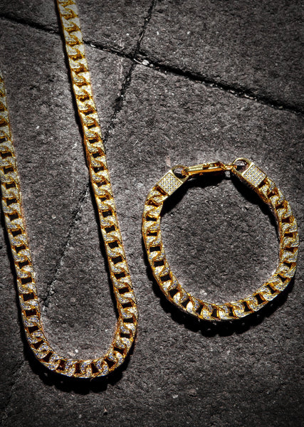 Solid Gold Plated Iced Out Franco Chain & Bracelet ( 8 Mm )
