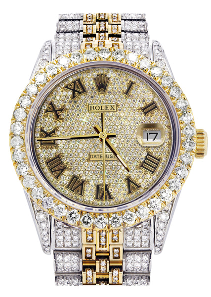 Iced Out Rolex Datejust 36 MM | Two Tone | 10 Carats of Diamonds | Full Diamond Gold Roman Diamond Dial