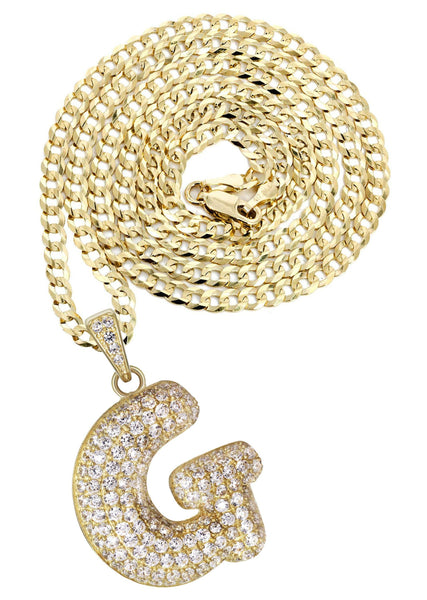 "10K Yellow Gold Cuban Chain & Bubble Letter ""G"" Cz Pendant 