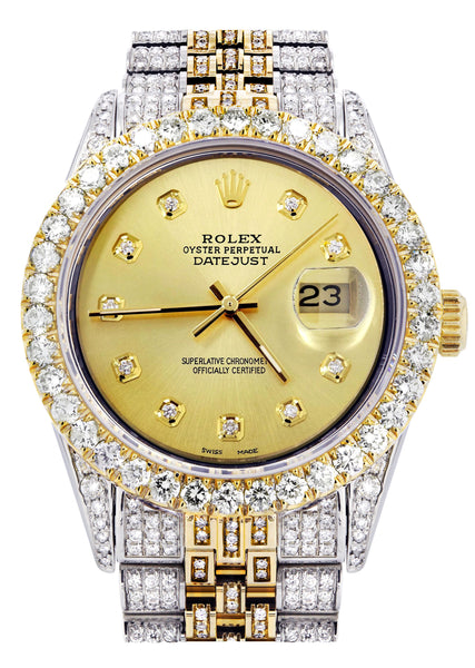 Iced Out Rolex Datejust 36 MM | Two Tone | 10 Carats of Diamonds | Gold Diamond Dial