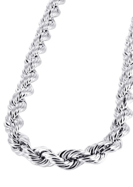 White Gold Chain - Mens Hollow Rope Chain 10K Gold