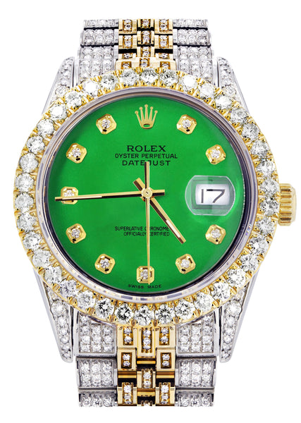Iced Out Rolex Datejust 36 MM | Two Tone | 10 Carats of Diamonds | Green Diamond Dial
