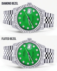 Mens Rolex Datejust  Watch 16200 | 36Mm | Green Dial | Jubilee Band