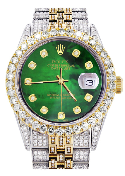 Iced Out Rolex Datejust 36 MM | Two Tone | 10 Carats of Diamonds | Green Mother of Pearl Diamond Dial