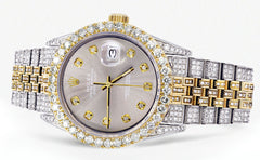 Iced Out Rolex Datejust 36 MM | Two Tone | 10 Carats of Diamonds | Grey Diamond Dial