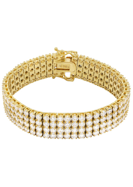 Gold Plated Four Row Tennis Bracelet