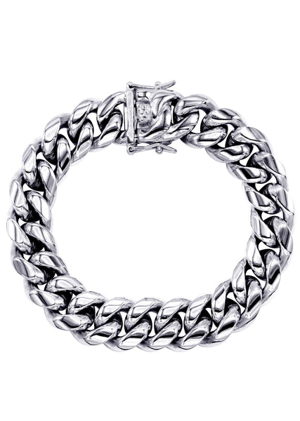 White Gold Plated Mens Solid Miami Cuban Link Bracelet