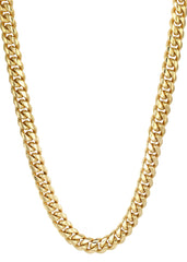 Gold Plated Mens Chain Solid Miami Cuban Link