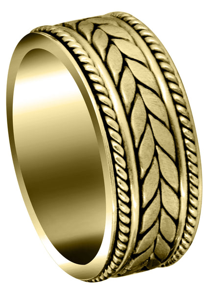 Yellow Gold Hand Woven Mens Wedding Band | Satin Finish (Diego)