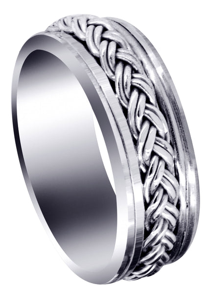 Hand Woven Unique Mens Wedding Band | High Polish Finish (Marcus)