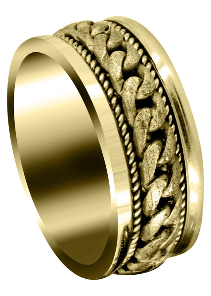 Yellow Gold Hand Woven Mens Wedding Band | Sand Blast Finish (Axel)