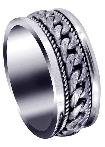 Hand Woven Mens Wedding Band | Sand Blast Finish (Axel)
