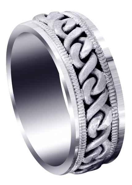 Hand Woven Mens Wedding Band | Sand Blast Finish (Braxton)