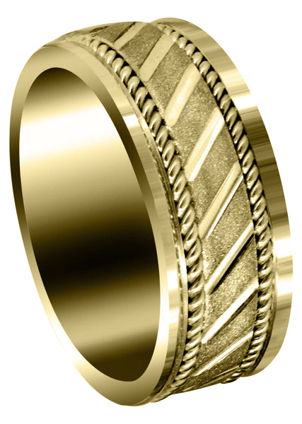 Yellow Gold Contemporary Mens Wedding Band | Stone Finish (Brantley)