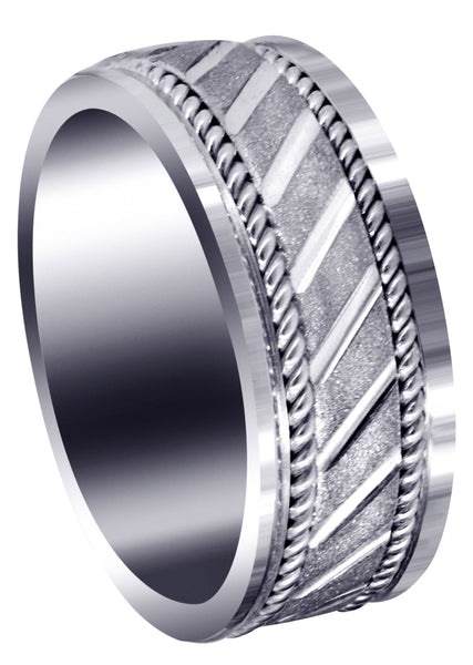 Contemporary Mens Wedding Band | Stone Finish (Brantley)