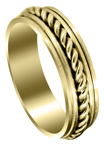 Yellow Gold Hand Woven Unique Mens Wedding Band | High Polish Finish (King)