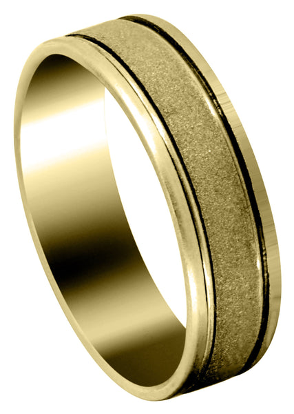 Yellow Gold Modern Mens Wedding Band | High Polish Finish (Victor)