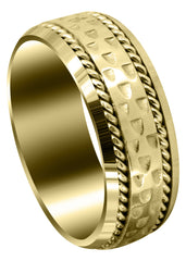 Yellow Gold Celtic Mens Wedding Band | Sand Blast / High Polish Finish (Edward)