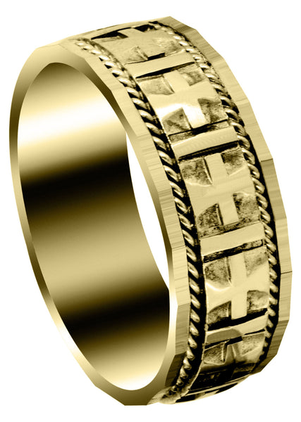 Yellow Gold Religious Mens Wedding Band | High Polish Finish (Jude)