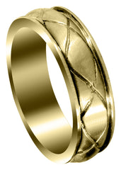 Yellow Gold Contemporary Mens Wedding Band | Satin Finish (Hayden)