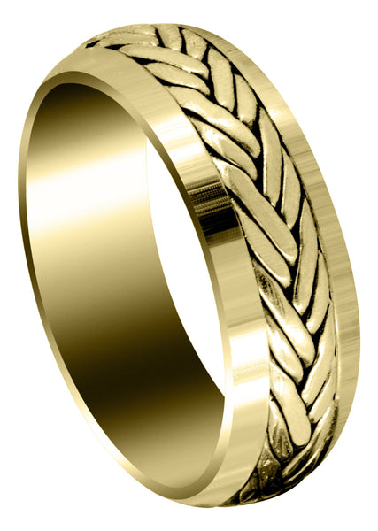 Yellow Gold Hand Woven Mens Wedding Band | High Polish Finish (Ryker)