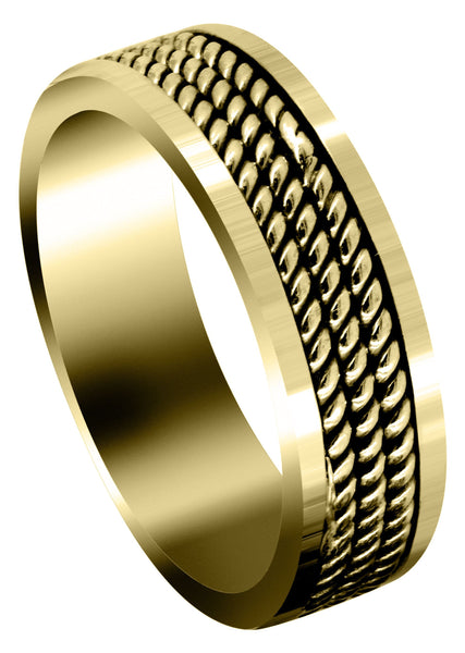 Yellow Gold Hand Woven Mens Wedding Band | High Polish Finish (Maxwell)