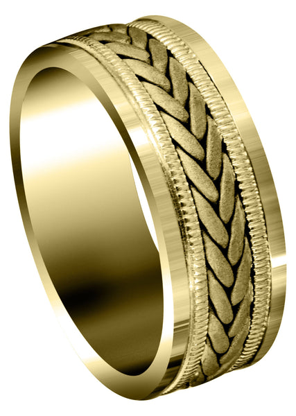 Yellow Gold Hand Woven Mens Wedding Band | Sand Blast Finish (Carson)