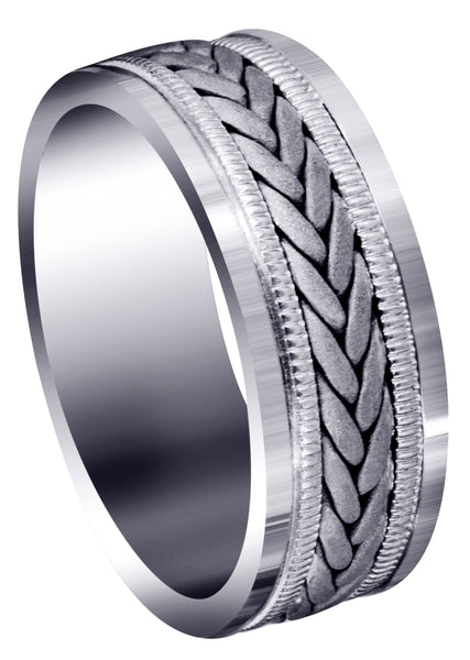 Hand Woven Mens Wedding Band | Sand Blast Finish (Carson)