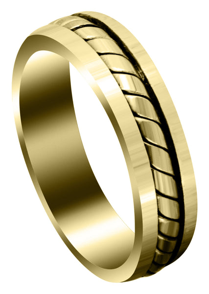 Yellow Gold Hand Woven Mens Wedding Band | Satin Finish (Timothy)