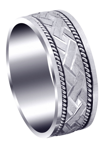 Modern Mens Wedding Band | Cross Satin Finish (Corbin)