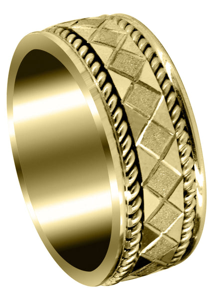 Yellow Gold Modern Mens Wedding Band | Stone Finish Finish (Jonah)