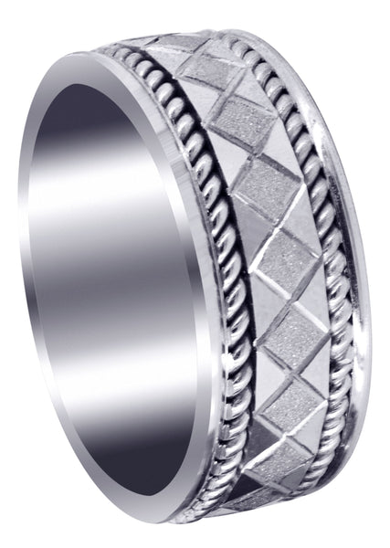 Modern Mens Wedding Band | Stone Finish Finish (Jonah)