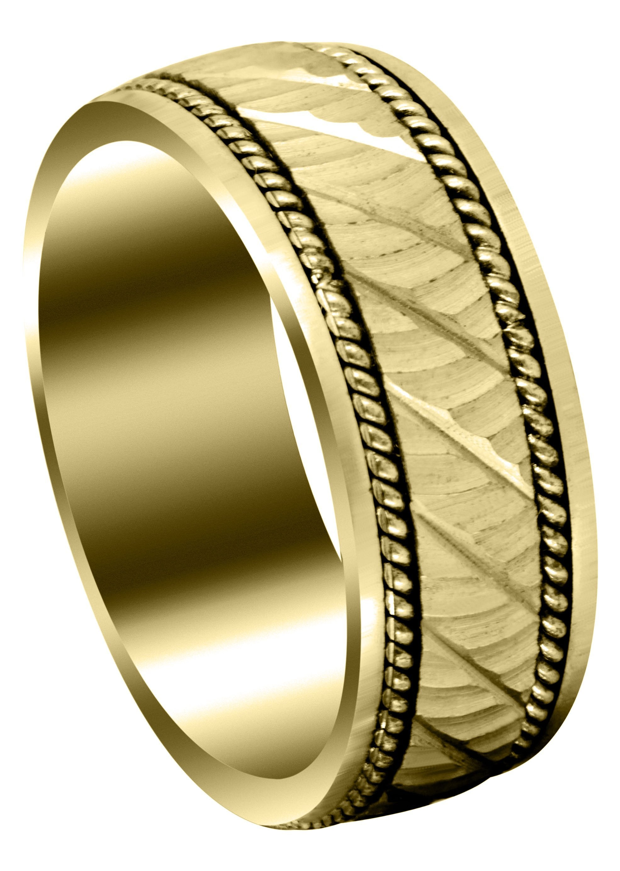 Yellow Gold Hand Woven Mens Wedding Band Satin Finish Ashton Frostnyc