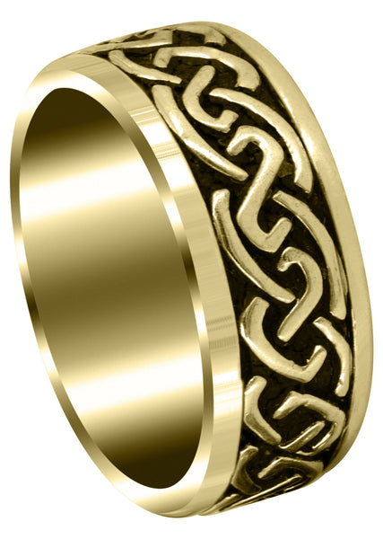 Yellow Gold Celtic Mens Wedding Band | Sand Blast / High Polish Finish (Kaiden)