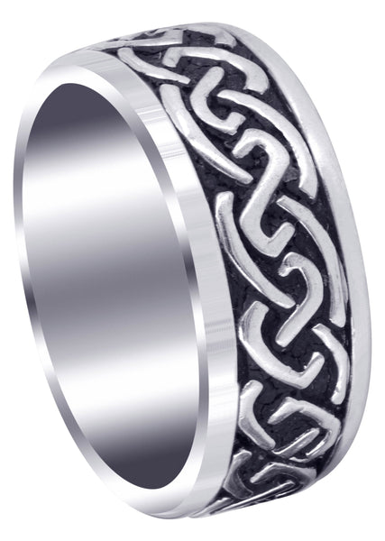 Celtic Mens Wedding Band | Sand Blast / High Polish Finish (Kaiden)