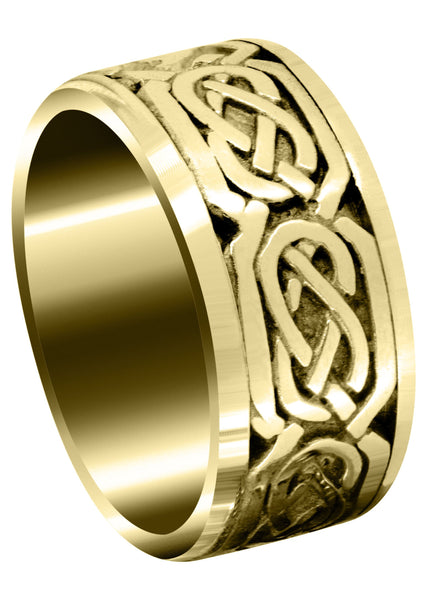 Yellow Gold Celtic Mens Wedding Band | Sand Blast / High Polish Finish (Emmett)