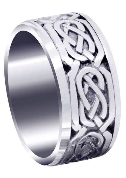 Celtic Mens Wedding Band | Sand Blast / High Polish Finish (Emmett)