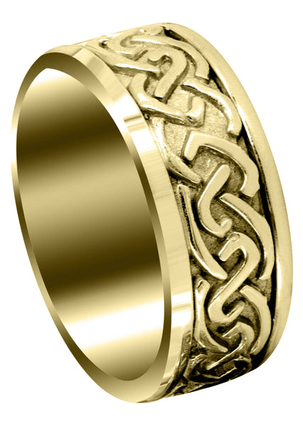 Yellow Gold Celtic Mens Wedding Band | Sand Blast / High Polish Finish (Ivan)