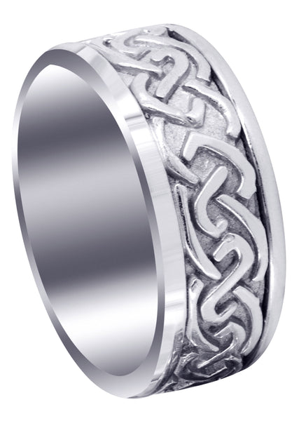 Celtic Mens Wedding Band | Sand Blast / High Polish Finish (Ivan)