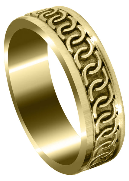 Yellow Gold Celtic Mens Wedding Band | Sand Blast / High Polish Finish (Eric)